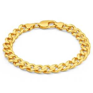 9ct Yellow Gold Diamond Cut Curb 21cm Bracelet Madeley Wanneroo Area Preview