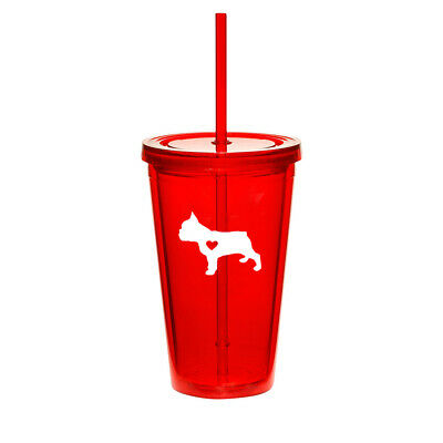 16oz Double Wall Acrylic Tumbler Mug Cup w/ Straw Cute French Bulldog With Heart - Cute Tumblers With Straws