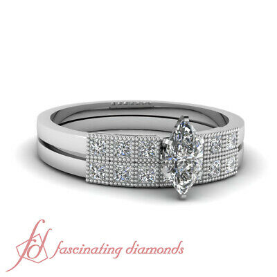 .80 Ct Marquise Cut VS2-D Color Diamond Wedding Rings For Women GIA Certified
