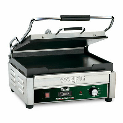 Waring Wfg250t Single Commercial Panini Press W Cast Iron Smooth Plates 120v