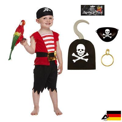Klein Kinder Piraten Kostüme Hacken Augenklappe Ohrring Kapitän Jack Seeräuber