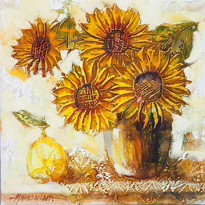 Sunflowers and Pear / Still life / Original Oil Painting by L. Hahonina 30x30cm