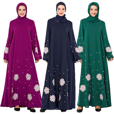 Abaya Muslim Long Sleeve Maxi Dress Women Beads Embroidery Loose Cocktail Party
