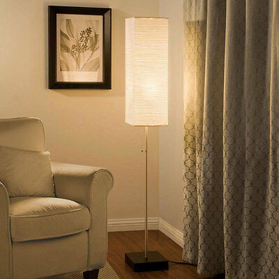 60 in. Modern Contemporary Floor Lamp Beige Paper Shade Lighting Faux Wood Base