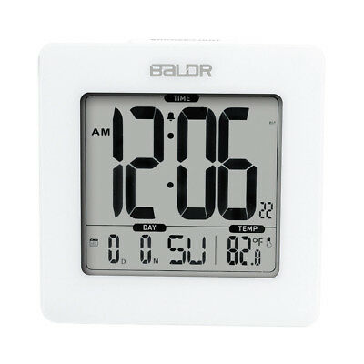 BALDR Digital Alarm Clock, Displays Time, Date, and Indoor Temp, Blue Backlight  ()