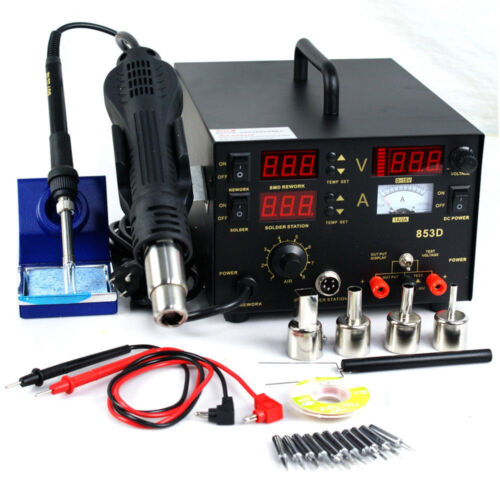3in1 853D / 2in1 8786D DC Power SMD Rework Station Soldering Hot Air Gun Welder