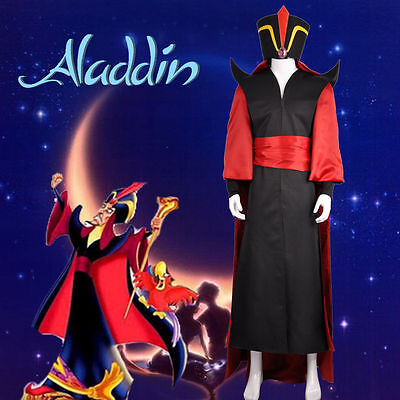 Lamp of Aladdin Wizard Jafar Cosplay Costume Hat Cape Custom Adult G