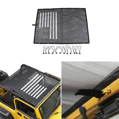 Fit 1997+ Jeep Wrangler TJ US Flag Roof Mesh Sunshade Top Cover UV Protection 1997 Jeep Wrangler Denim