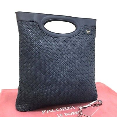 100% Authentic FALORNI Navy Blue Leather Bag /3315