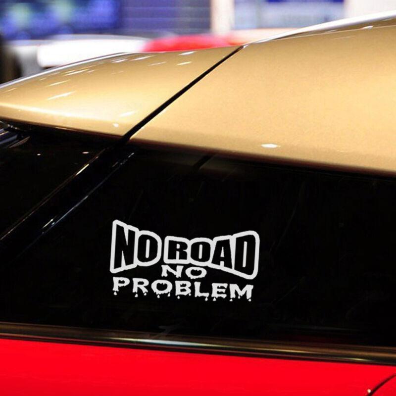 """Funny /"""" NO ROAD NO PROBLEM /"""" PET Decal Decor Car Sticker Van Truck 4x4 Off Road"""