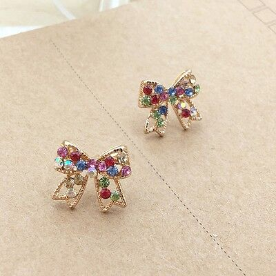 New Bowknot Ear Chic Colorful Bowknot Earrings Crystal Fashion Jewelry Women