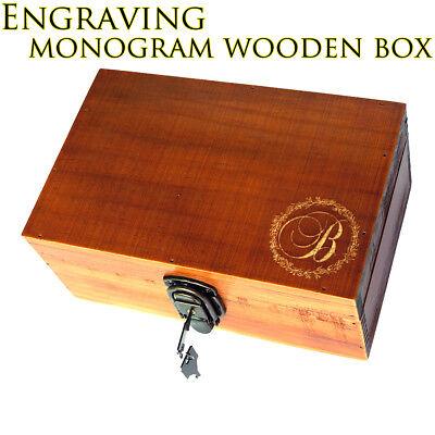 - Engraving Retro Monogram Wooden Jewelry Box Bridesmaid Birthday Wedding Gift