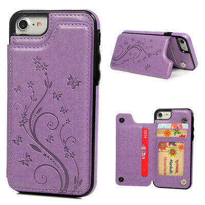 For iPhone 7 8 Case Cover Kickstand Flip Wallet Card Slots Embossed PU (Embossed Leather Case)