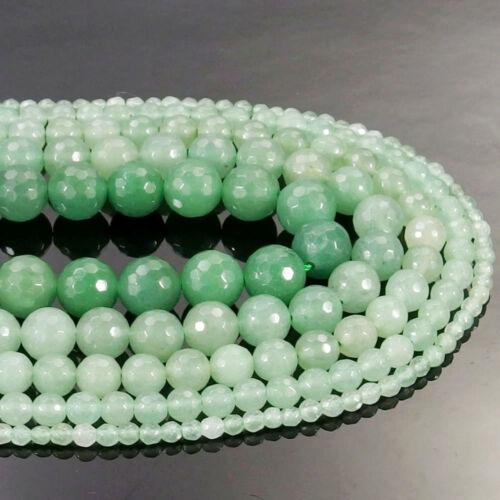 Green Aventurine Gemstone Faceted Round Beads 15.5