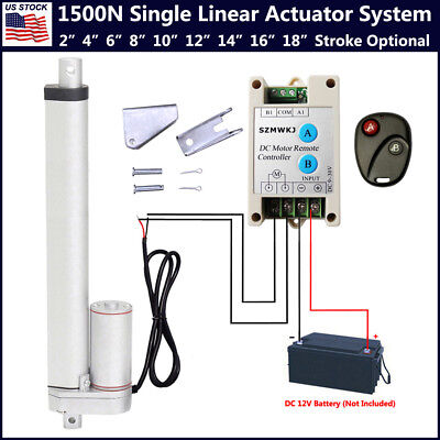 1500n Linear Actuator 2-18 Electric Motor Remote Controller 12v Dc Auto Lift