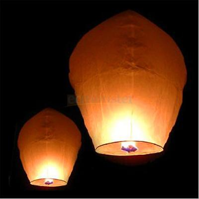 50PCS White Paper Sky Chinese Lanterns Fly Candle Lamp for Wish Party Wedding US (White Lanterns For Weddings)