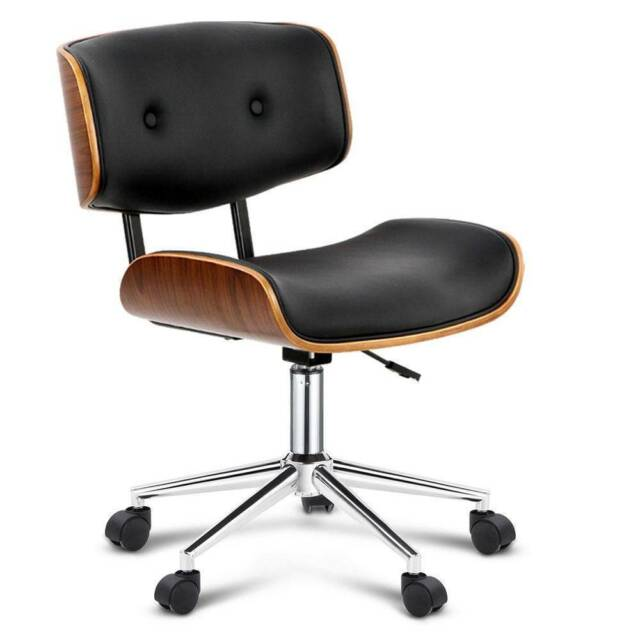 Executive Wooden Office Chair Leather Padded Computer Home