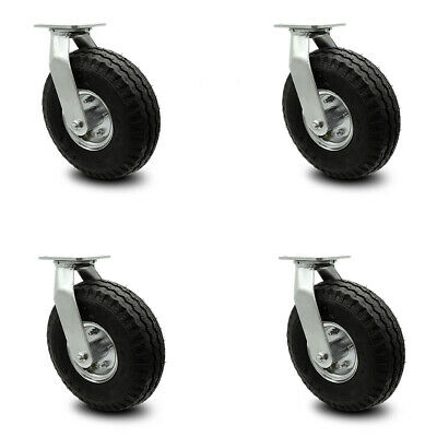 Scc 10 Black Pneumatic Wheel Swivel Casters Wbolt On Swivel Locks - Set Of 4
