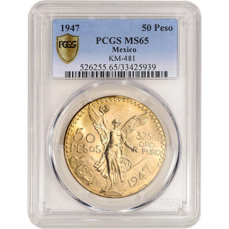 1947 Mexico Gold 50 Pesos Restrike - PCGS MS65 KM# 481