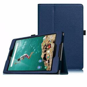 HTC Google Nexus 9 Premium Executive Faux Leather Canvas Book Style Folding Flip Folio Cover Stand Case