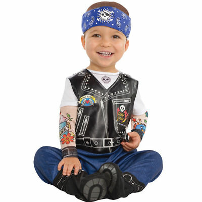 Baby Biker Punk Rocker Hells Angel Costume Fancy Dress Outfit 6-12 Months