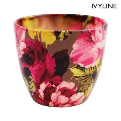 Ivyline Watercolour Amethyst Floral Indoor Plant Pot Planter Flower Pot 13cm