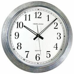 Timekeeper 401ZWA 16 Galvanized Metal Silver Wall Clock