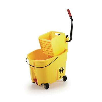 Rubbermaid Mop Bucket Drain Cleaning Pail Rolling Wheels Side Press Yellow 35 Qt