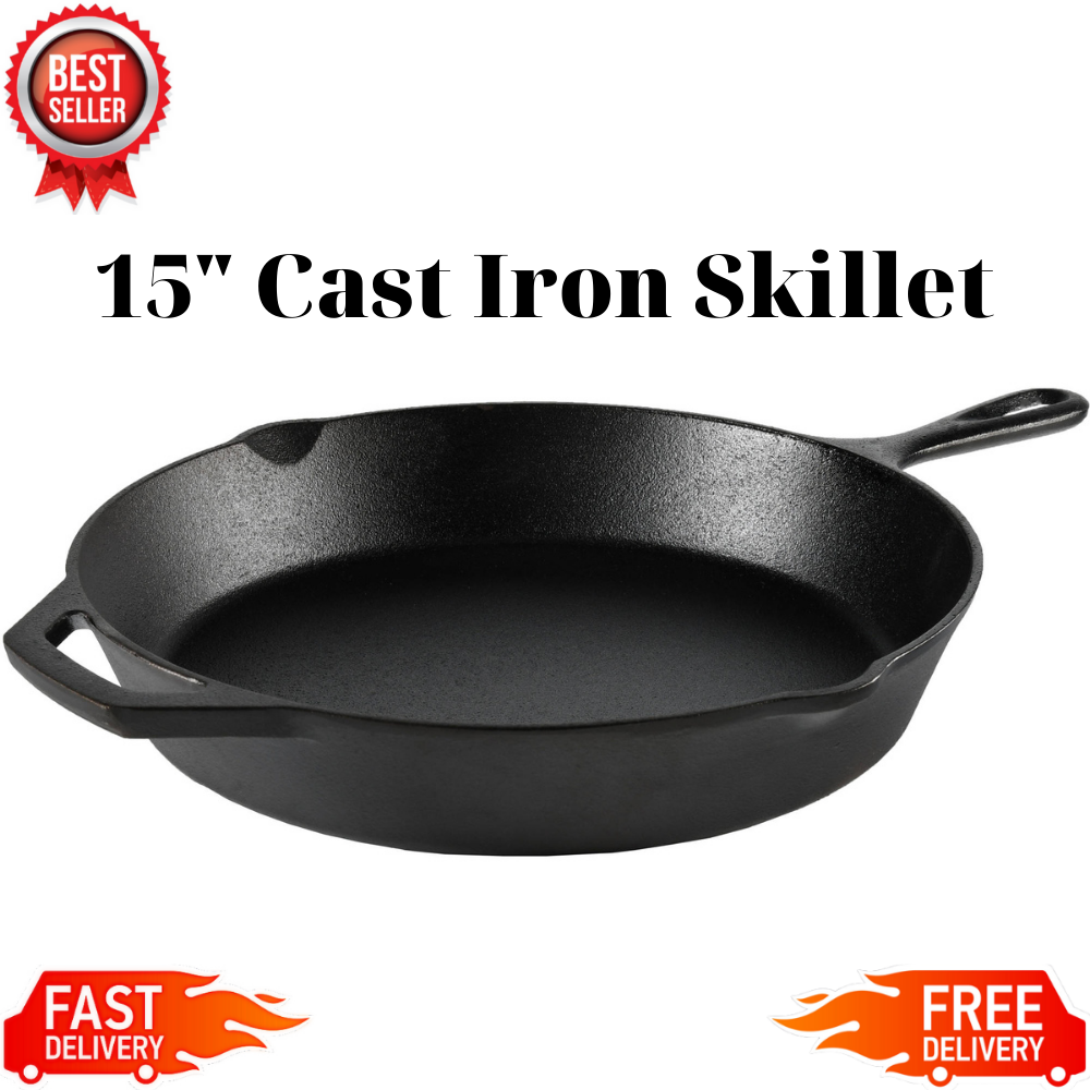 """Cast Iron Skillet 15"""" Large Oven Frying Pan Pot Non Stick Co"""