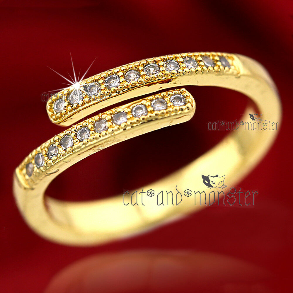 18K GOLD GF LADIES GIRLS CRYSTAL FINGER TOE TWIST WEDDING BA