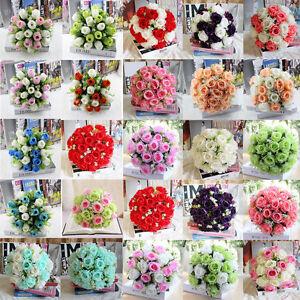 18-CABEZAS-Seda-Artificial-Rosas-Flores-Ramillete-De-Novia-Hogar-Decoracion-Boda