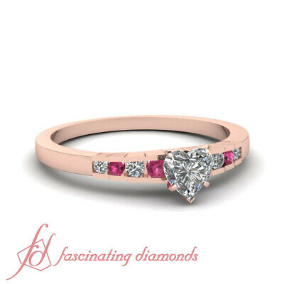 Channel Set 1/2 Ct Heart Shaped Diamond And Pink Sapphire Engagement Ring GIA