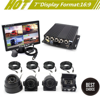 "4CH Car DVR Video Recorder Box +7"" Car Monitor W/CCD 4X Camera For Truck Van Bus for sale  Shipping to Canada"