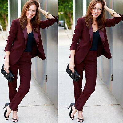 Burgundy Ladies Office Uniform Pant Suits For Women Business Female Trouser Suit