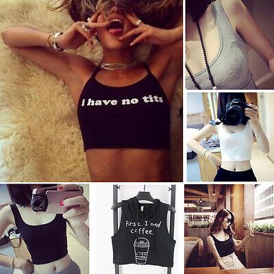 Women Sexy Summer Sleeveless Short Tank Vest Blouse Slim Fit Bralet Bra Crop mt