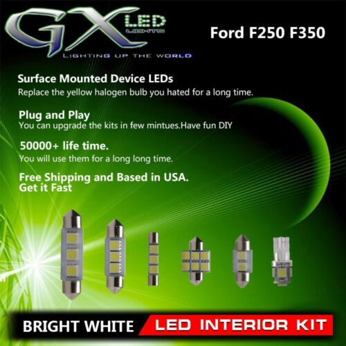 Car Parts - 1999-2010 Ford F250 F350 White Car Part LED Bulb Interior Light Packahe Kit 8pcs