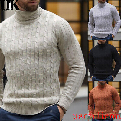 Men's Winter Warm Knitted High Roll Turtle Neck Pullover Slim Sweater Jumper Top