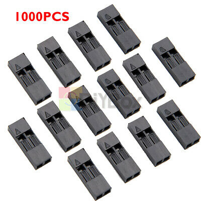 1000pcs 2p Dupont Jumper Wire Cable Housing Female 2 Pin 2.54mm Pitch Connector