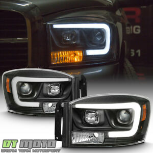 Black 2006-2008 Dodge Ram 1500 2500 3500 LED Tube Projector Headlights Headlamps