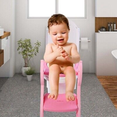 Foldable Kids Potty Training Seat w/Step Stool Ladder Toddler Toilet Chair