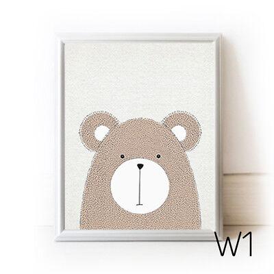 (Bear Rabbit Lion Nursery Home Decor Kids Printable Cute Animal Picture Baby Room)