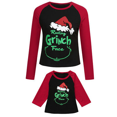 Mom Daughter Kids Baby Family Christmas Cartoon Letter T-shirt Tee Tops Clothes - Children Christmas Clothing