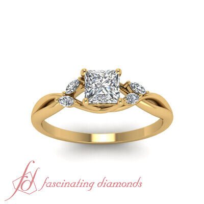 1 Carat Princess Cut Diamond Petal Style Engagement Ring In 18K Yellow Gold GIA 1