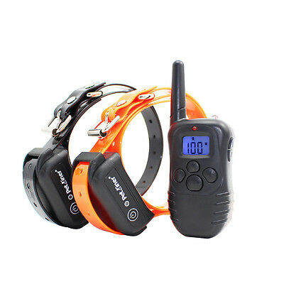 Petrainer Waterproof Rechargeable E-Collar With Electric Shock Remote For 2 Dogs