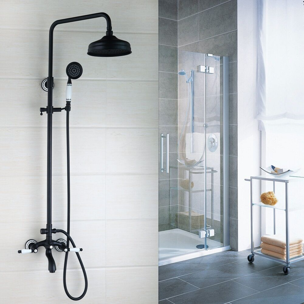 Brass Wall Mounted Rain Shower Faucets Set Hand Shower Mixer Taps ...