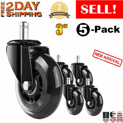 5pcsset Office Chair Caster 3-inch Rubber Swivel Wheels Replacement Heavy Duty