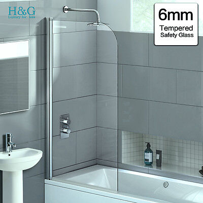 6 mm Over Bath Shower Screen Tempered Glass Door Panel New 180° Pivot ID:432