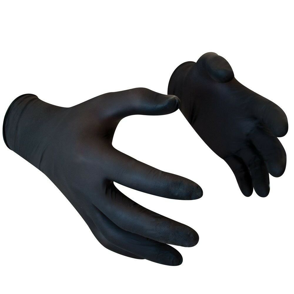 Box of Black Nitrile gloves size S M