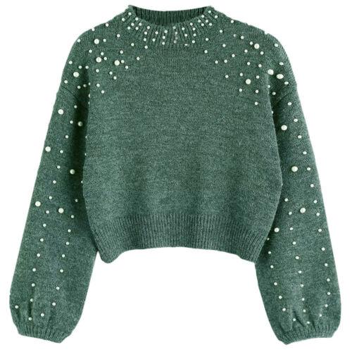 donne signora maglione pullover maglia maglia collo a lupetto perla finta