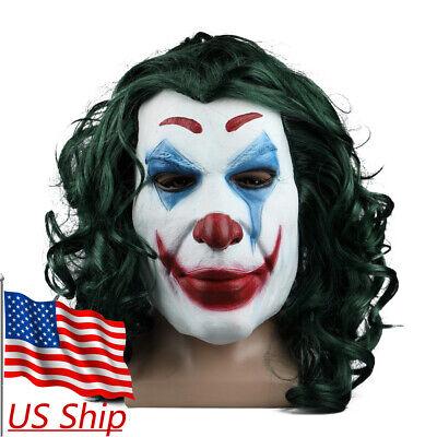 Evil Joker Mask (2019 Joker Mask Cosplay Movie Horror Scary Smile Evil Clown Halloween Latex)